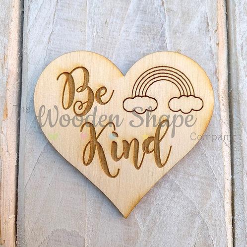 Plywood Engraved Heart Be Kind Token or Keyring 5 Pack