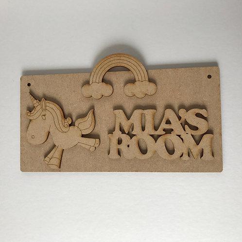 MDF Unicorn Room Sign Unicorn B