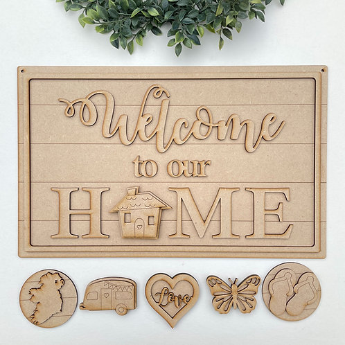 Interchangeable Welcome to our Home Porch Sign Rectangle