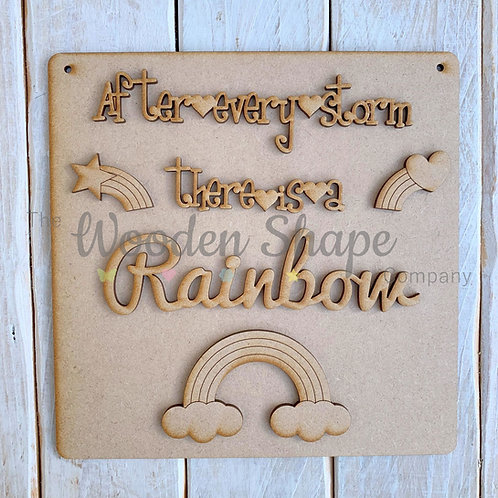 MDF SP Laser Cut Craft Kit DIY After every storm there is a Rainbow D1