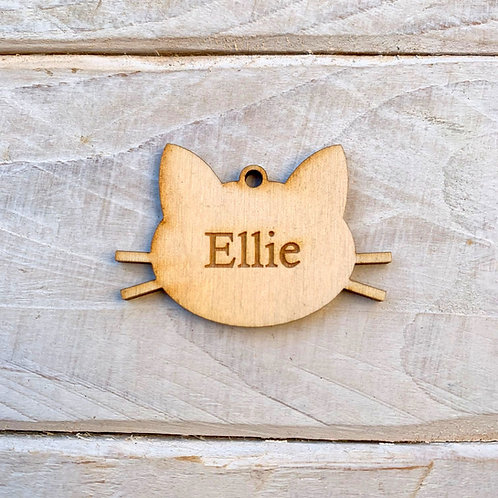 5cm Engraved Plywood Cat Face with Hole