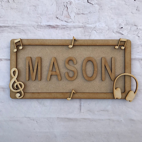 Music Theme Room Sign Small (up to 6 letters)