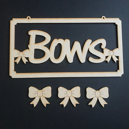 MDF Hair Bow Clip Holder Plaque Word Art BOWS