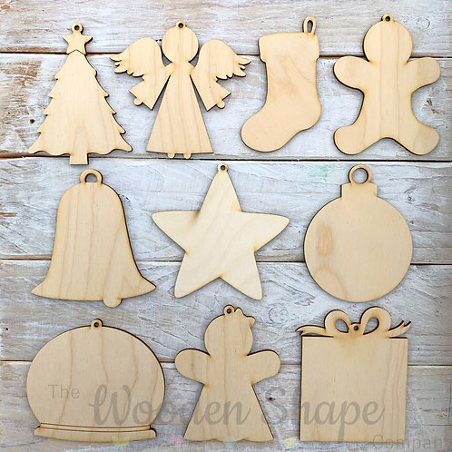 10 Pack Birch Plywood Christmas Tags Assorted