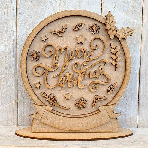Freestanding Snow Globe Merry Christmas