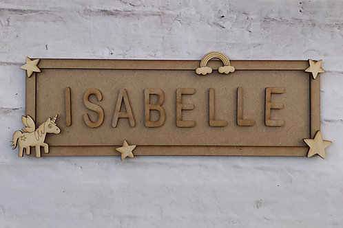 Unicorn Theme Room Sign Large (up to 10 letters)