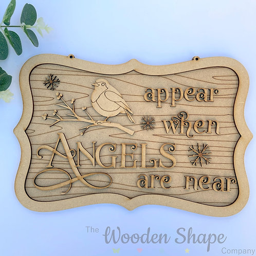 30cm Ornate MDF Sign Christmas Remembrance Robins Appears