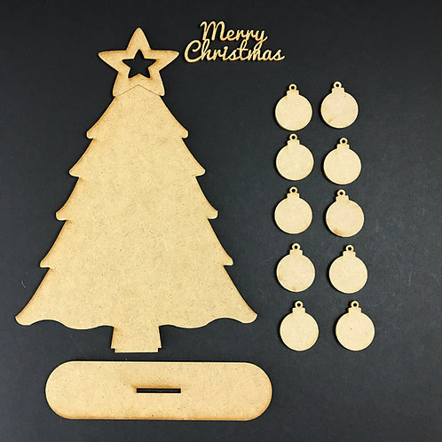 MDF Wooden Tree Code Christmas Bauble Stand Kit