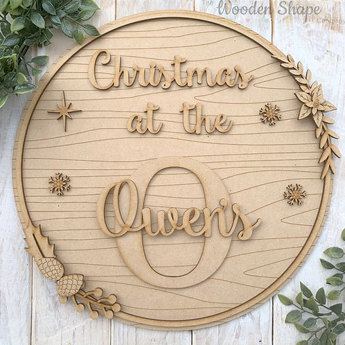 30cm MDF Circle Hoop with Initial & Family Name Christmas at the Sign