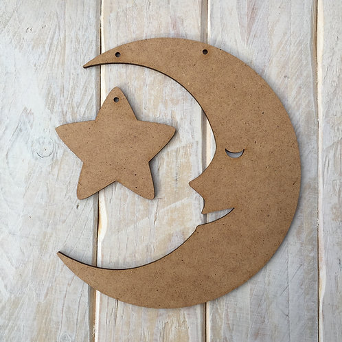 MDF Moon & Star Shape Plaque Blank