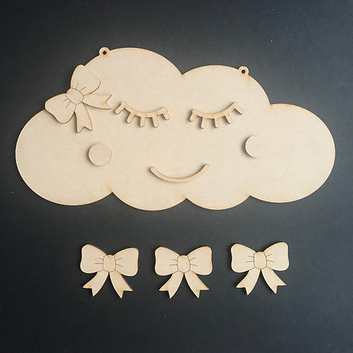 MDF Hair Bow Clip Holder Plaque Cloud +Wording