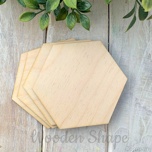 4 Pack Birch Plywood Hexagons