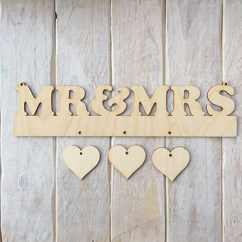 Plywood MR & MRS Word with Hanging Hearts