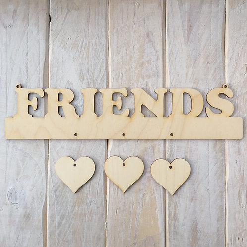 Plywood FRIEND Word Plaque with Hanging Hearts