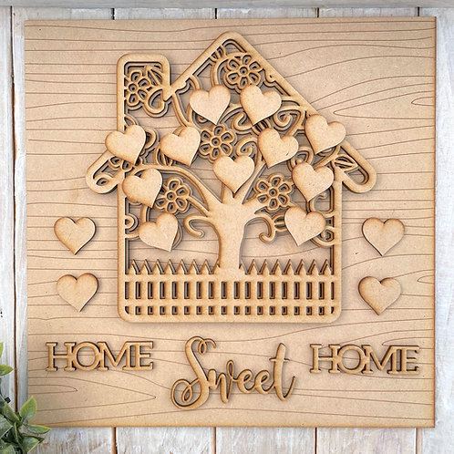 30cm Square Multi Layered MDF Tree House Home Sweet Home