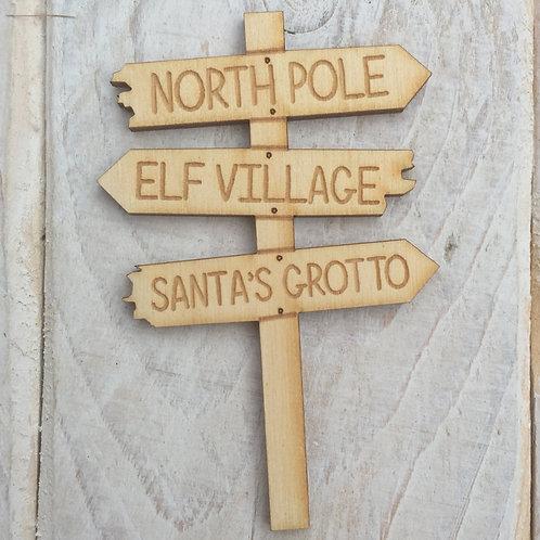 Wooden Fairy Door Sign Post R3 Xmas