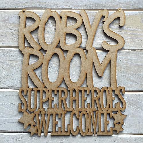 MDF Personalised Room Sign Superheroes Welcome