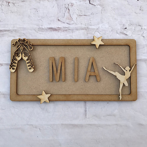 Ballet Theme Room Sign Small (up to 6 letters)