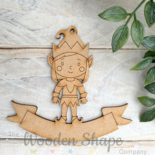 MDF Bauble Elf Girl with Banner