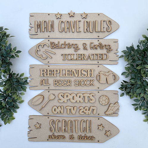 Man Cave Rules Theme Direction Sign