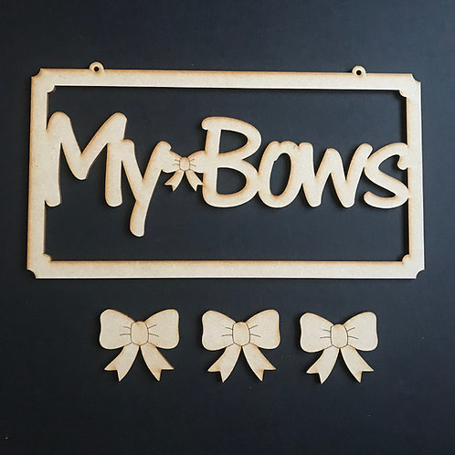 MDF Hair Bow Clip Holder Plaque Word Art MY BOWS