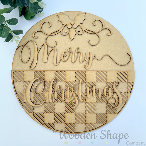 30cm MDF Sign Merry Christmas Tartan CP