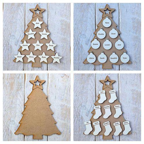MDF Christmas Tree B with White Engraved Name Tags