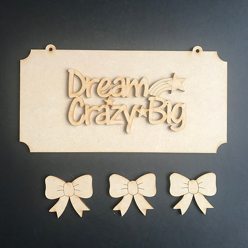 MDF Hair Bow Clip Holder Plaque +Wording