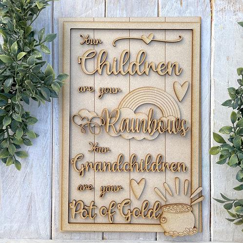 30cm MDF Sign Kit Children Rainbows Grandchildren Pot of Gold RLI