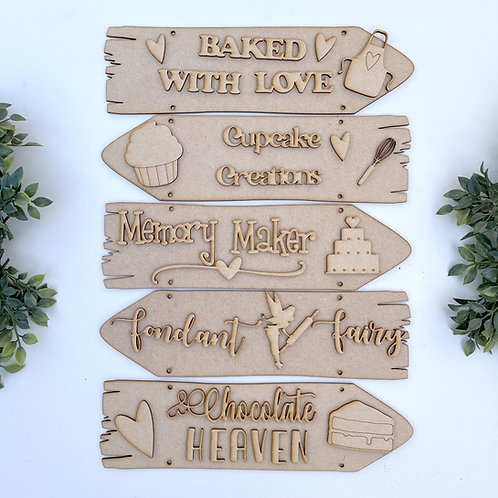Baked with Love Theme Direction Sign