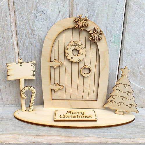 Fairy Door on Stand Merry Christmas