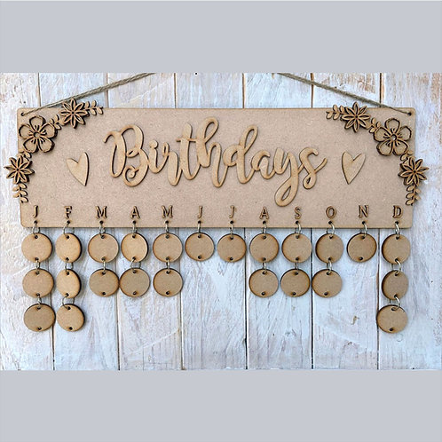 MDF Floral Birthday Planner Board with Tags and Rings