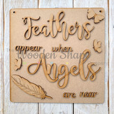 Laser Cut Square Plaque Feathers appear when angels are near