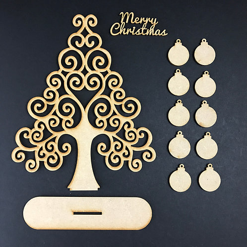 MDF Wooden Tree Code Christmas Swirl Stand Kit