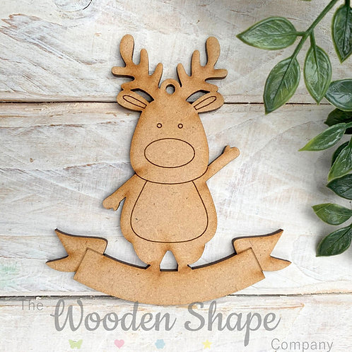 MDF Bauble Reindeer with Banner
