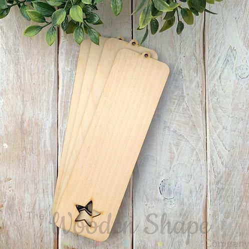 4 Pack Birch Plywood Bookmark Star