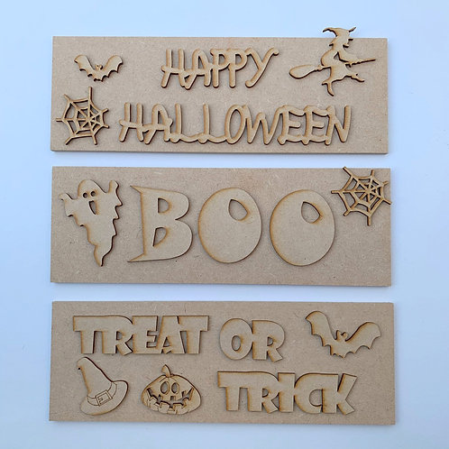 Set of 3 Halloween Signs 3mm Back