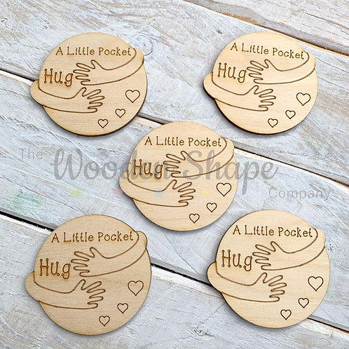 Plywood Engraved Circle Hugging Arms Little Pocket Hug 5 Pack