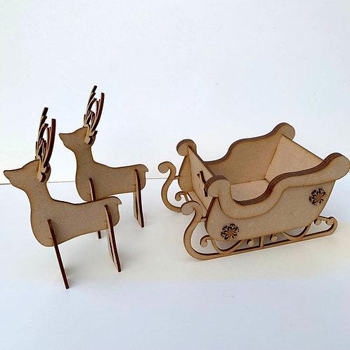 MDF Layered Sleigh with 2 Reindeer - Medium Size