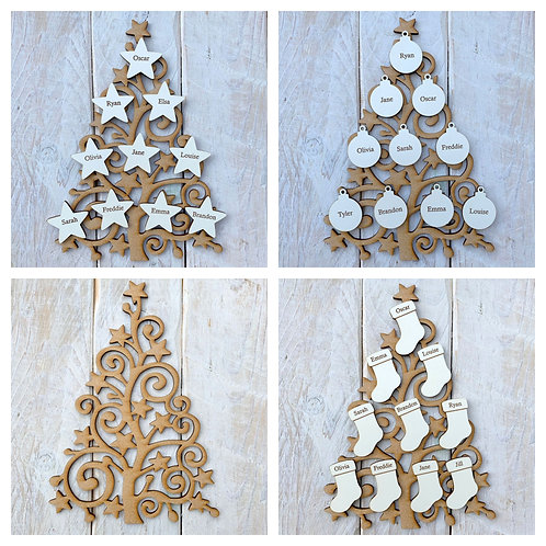 MDF Christmas Tree SS with White Engraved Name Tags
