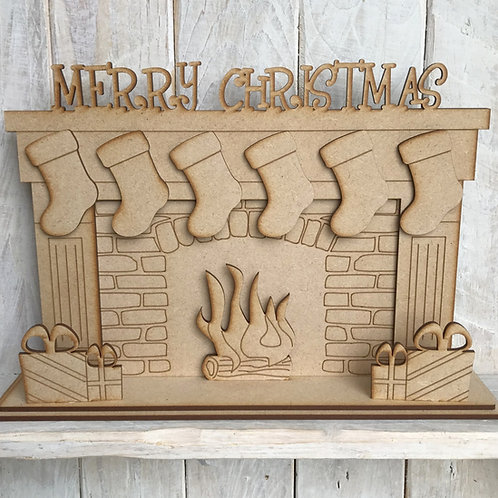 Laser Cut MDF Christmas Fireplace with Hanging Stockings