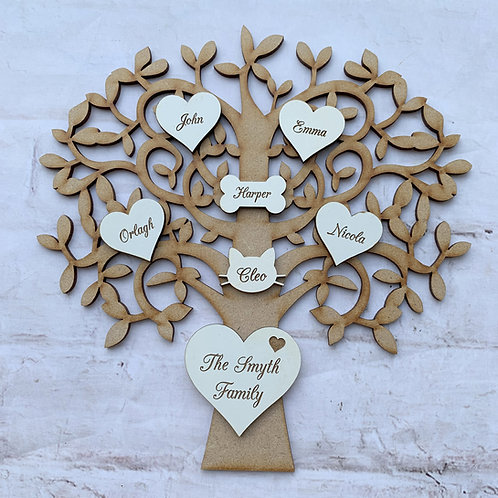 MDF Tree with Plywood Engraved Hearts White Script