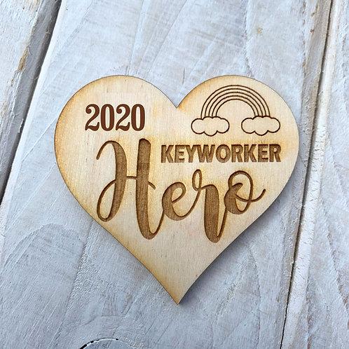5 Pack Plywood Engraved Heart Keyworker Hero Token or Keyring 5 Pack