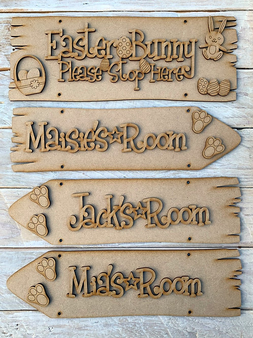 Easter Bunny Stop Here Personalised Direction Room Signs