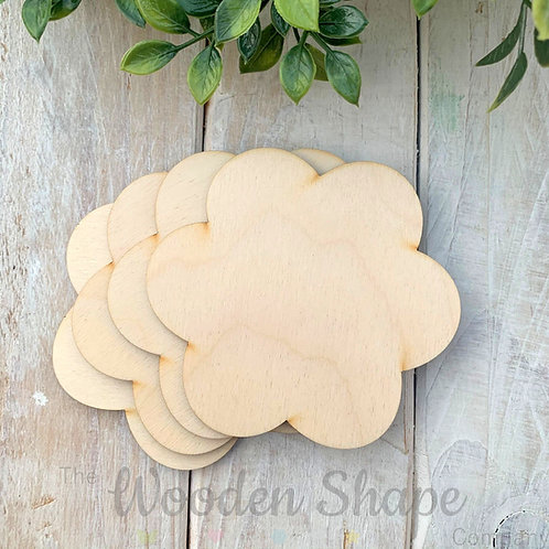 4 Pack Birch Plywood Flowers