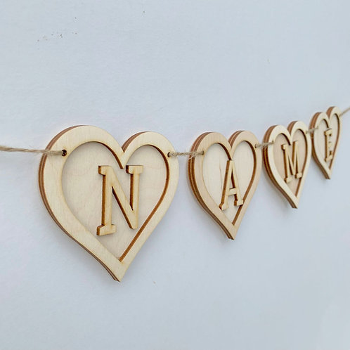 Plywood Frame Heart Bunting