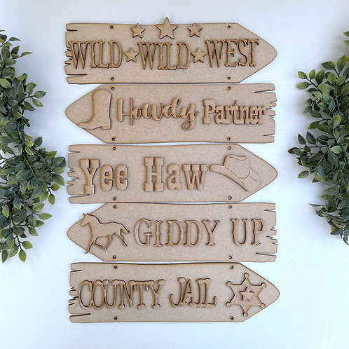 Wild West Theme Direction Sign