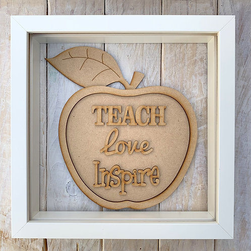 Layered Apple Plaque Frame Teach Love Inspire