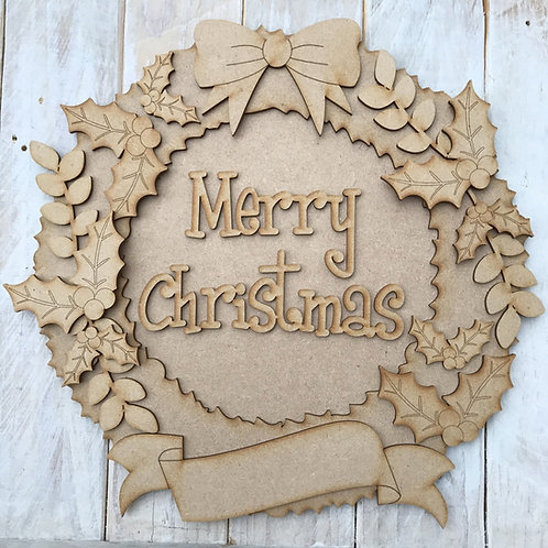 MDF Christmas Wreath Layered Kit Holly