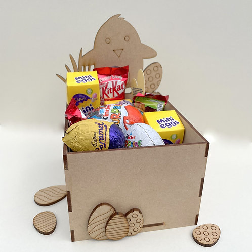 MDF Easter Fillable Treat Box Chick with Egg